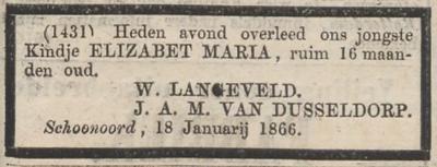 Elizabeth Maria Langeveld, 18-1-1866, overlijdensadvertentie