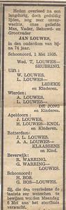 Jan Louwes, 1-5-1935, overlijdensadvertentie