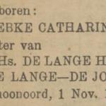 Gebke Catharina de Lange, 1-11-1921, geboorteadvertentie