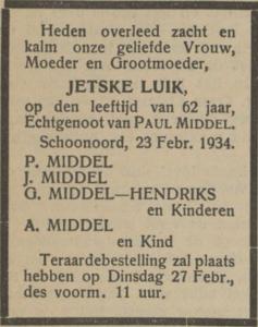 Jetske Luik, 23-2-1934, overlijdensadvertentie