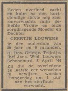 Geertje Louwes, 8-4-1944, overlijdensadvertentie