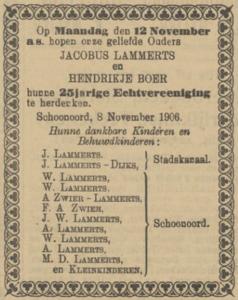Lammerts en Boer, 12-11-1906, 25 jarig huwelijk