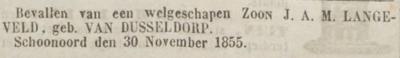 Johannes Gerhardus Langeveld, 30-11-1855, geboorteadvertentie