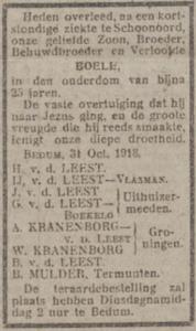 Boele van der Leest, 31-10-1918, overlijdensadvertentie