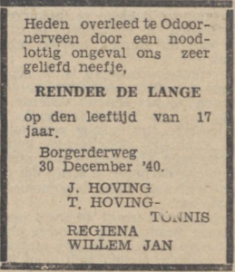Reinder de Lange, 30-12-1940, overlijdensadvertentie