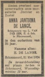 Anna Jantiena de Lange, 31-3-1924, overlijdensadvertentie