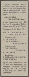 Johannes de Lange, 28-12-1938, overlijdensadvertentie
