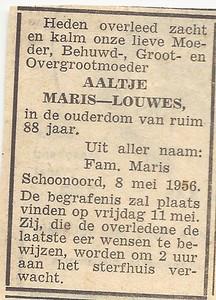 Aaltje Louwes, 8-5-1956, overlijdensadvertentie