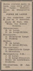Popke de Lange, 23-1-1924, Overlijdensadvertentie