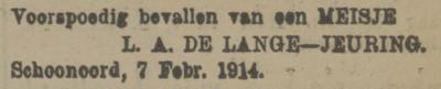 Aaltje de Lange, 7-2-1914, geboorteadvertentie