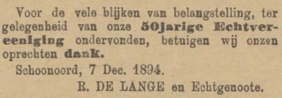 Lange en Zwolle, 7-12-1894, 50 jarig huwelijk