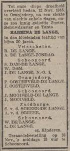 Harmina de Lange, 12-11-1918, overlijdensadvertentie