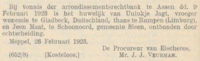 Maat en Jagt, 9-2-1923, echtscheiding