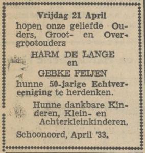 de Lange en Feijen, 21-4-1933, 50 jarig huwelijk