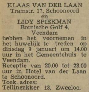 van der Laan en Spiekman, 9-1-1973, huwelijksaankondiging