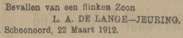 Herman de Lange, 22-3-1912, geboorteadvertentie