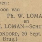 Jan Loman, 26-9-1930, geboorteadvertentie