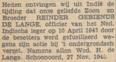 Reinder Gebbienus de Lange, 10-4-1943, overlijdensadvertentie