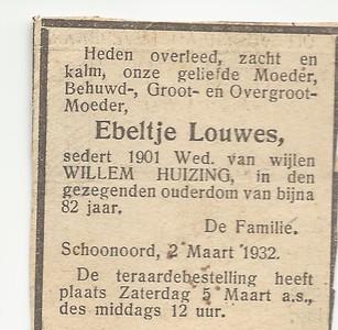 Ebeltje Louwes, 2-3-1932, overlijdensadvertentie