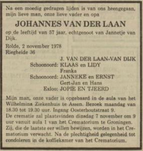 Johannes van der Laan, 2-11-1978, overlijdensadvertentie