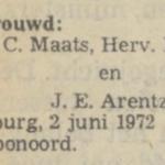 Maats en Arentz, 2-6-1972, huwelijksadvertentie