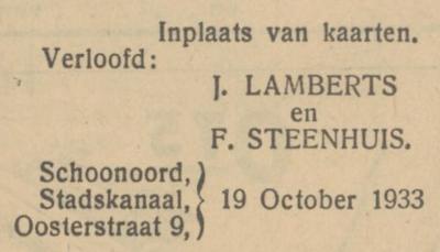 Lamberts en Steenhuis, 19-10-1933, verloofd