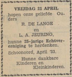 de Lange en Jeuring, 21-4-1933, 25 jarig huwelijk