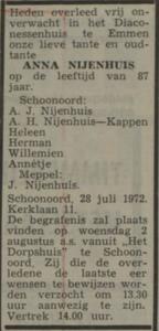 Anna Nijenhuis, 28-7-1972, overlijdensadvertentie