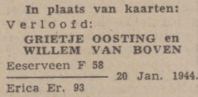 Oosting en van Boven, 20-1-1944, verloofd