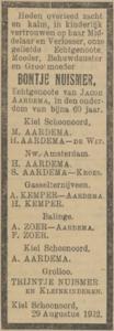 Bontje Nuismer, 29-8-1922, overlijdensadvertentie