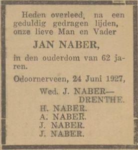 Jan Naber, 24-6-1927, overlijdensadvertentie