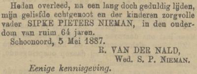 Sipke Pieters Nieman, 2-5-1887, overlijdensadvertentie