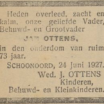 Jan Ottens, 24-6-1927, overlijdensadvertentie