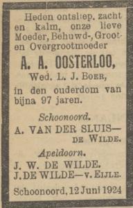 Annegien Alberts Oosterloo, 12-6-1924, overlijdensadvertentie