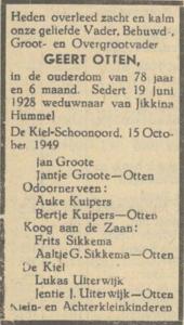 Geert Otten, 15-10-1949, overlijdensadvertentie