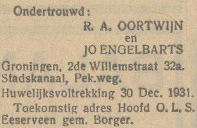 Oortwijn en Albarts, 15-12-1931, ondertrouwd