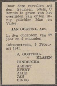 Jan Oosting, 9-2-1941, overlijdensadvertentie