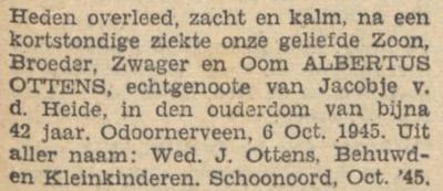Albertus Ottens, 6-10-1945, overlijdensadvertentie