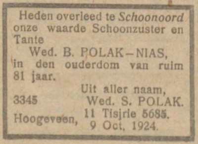 Brandina Nias, 9-10-1924, overlijdensadvertentie