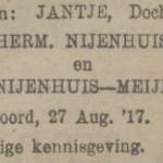 Jantje Nijenhuis, 27-8-1917, geboorteadvertentie