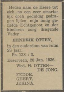 Hendrik Otten, 20-1-1936, overlijdensadvertentie