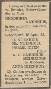 Hendrikus Nijenhuuis, 15-4-1935, overlijdensadvertentie