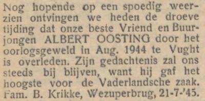 Albert Oosting, 22-8-1944, overlijdensadvertentie