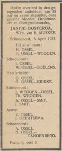 Jantje Oosterga, 5-4-1937, overlijdensadvertentie