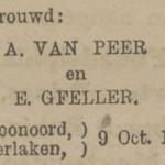 van Peer en Gfeller, 9-10-1920, huwelijksadvertentie