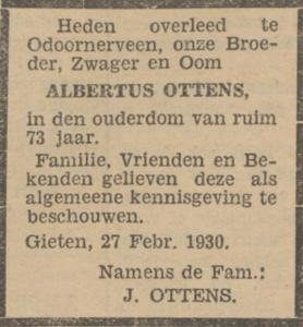 Albertus Ottens, 27-2-1930, overlijdensadvertentie