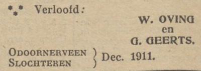 Oving en Geerts, 12-1911, verloofd