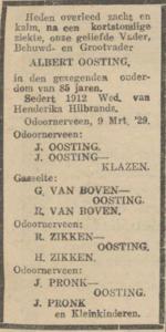 Albert Oosting, 9-3-1929, overlijdensadvertentie