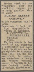 Roelof Albert Oortwijn, 1-9-1943, Overlijdensadvertentie