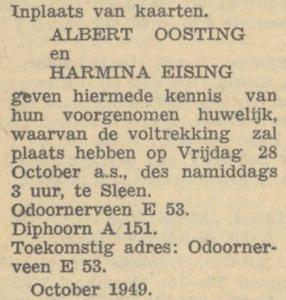 Oosting en Eising, 28-10-1949, huwelijksaankondiging